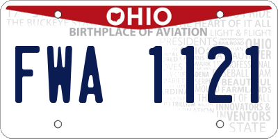 OH license plate FWA1121