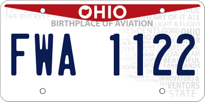 OH license plate FWA1122