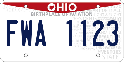 OH license plate FWA1123