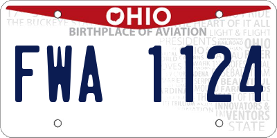 OH license plate FWA1124