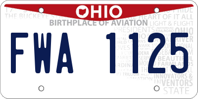 OH license plate FWA1125