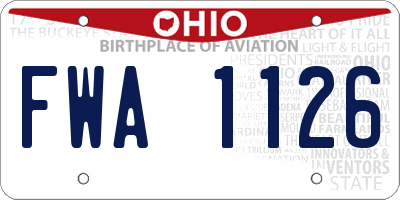 OH license plate FWA1126