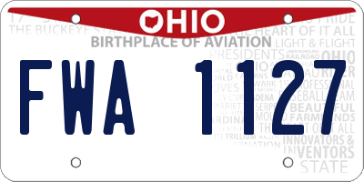 OH license plate FWA1127