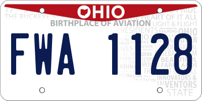 OH license plate FWA1128