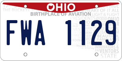 OH license plate FWA1129