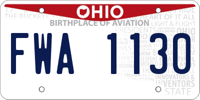 OH license plate FWA1130