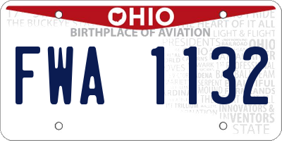 OH license plate FWA1132