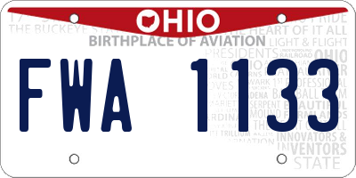 OH license plate FWA1133
