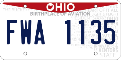 OH license plate FWA1135