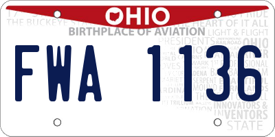 OH license plate FWA1136