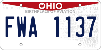 OH license plate FWA1137