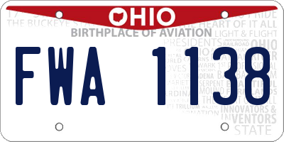 OH license plate FWA1138