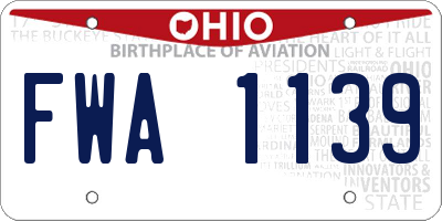 OH license plate FWA1139