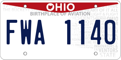 OH license plate FWA1140