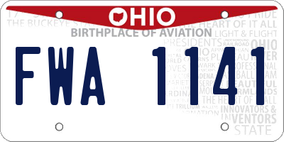 OH license plate FWA1141