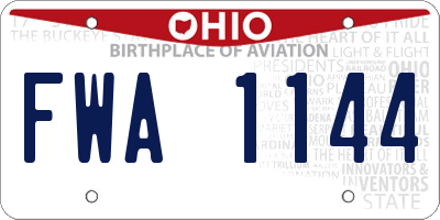 OH license plate FWA1144