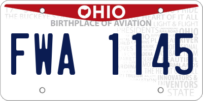 OH license plate FWA1145