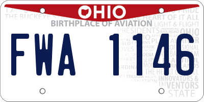 OH license plate FWA1146