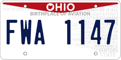 OH license plate FWA1147