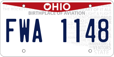 OH license plate FWA1148