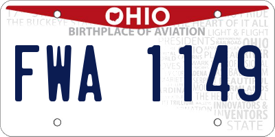 OH license plate FWA1149