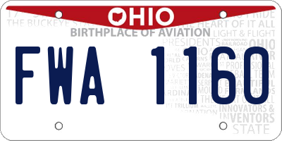 OH license plate FWA1160