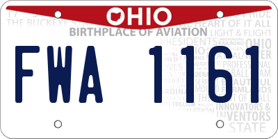 OH license plate FWA1161