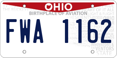 OH license plate FWA1162