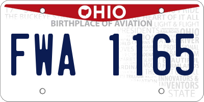 OH license plate FWA1165