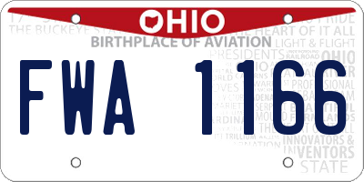 OH license plate FWA1166