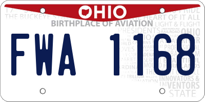 OH license plate FWA1168