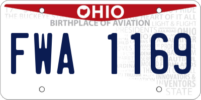 OH license plate FWA1169