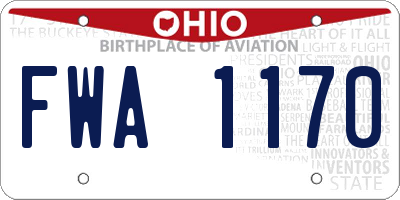 OH license plate FWA1170