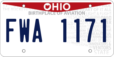 OH license plate FWA1171