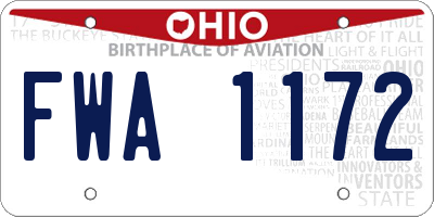 OH license plate FWA1172