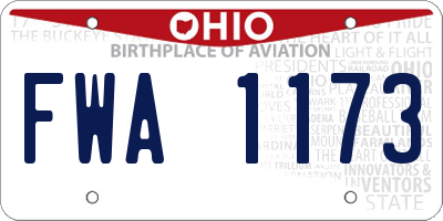 OH license plate FWA1173