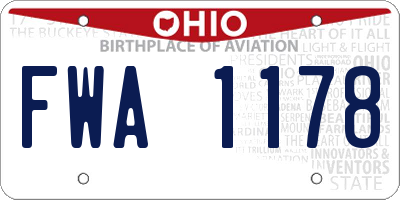 OH license plate FWA1178