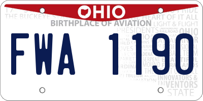 OH license plate FWA1190