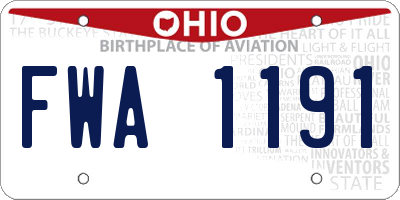 OH license plate FWA1191