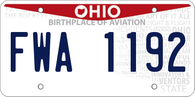 OH license plate FWA1192