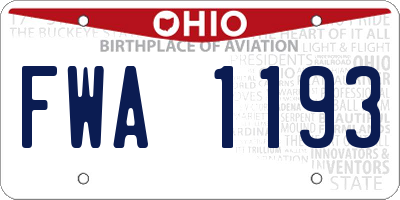 OH license plate FWA1193