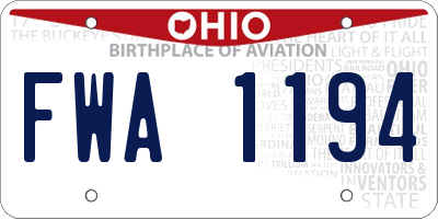 OH license plate FWA1194