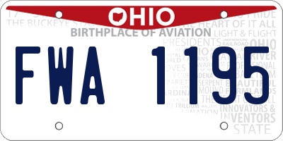 OH license plate FWA1195