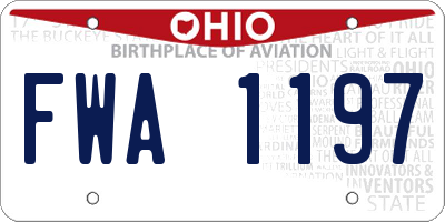 OH license plate FWA1197