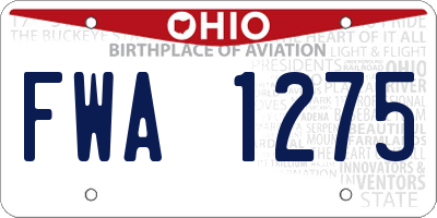 OH license plate FWA1275