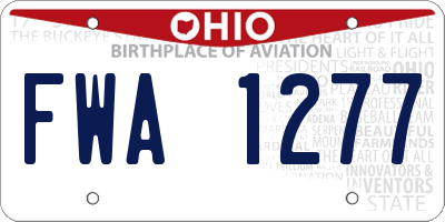 OH license plate FWA1277