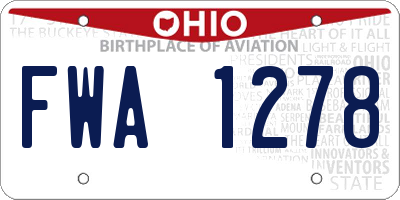 OH license plate FWA1278