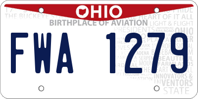 OH license plate FWA1279