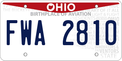OH license plate FWA2810