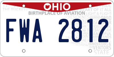 OH license plate FWA2812
